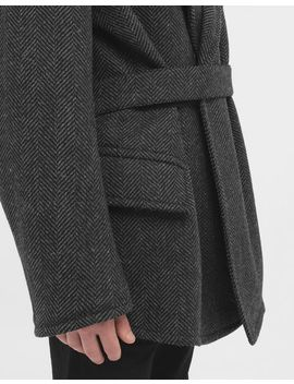 Scratch Fastening Herringbone Pea Coat by Maison Margiela