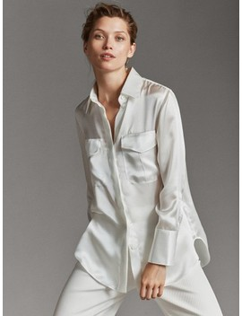 100% Mulberry Silk Shirt With Pockets by Massimo Dutti