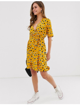 Influence Wrap Front Mini Dress In Splodge Print by Asos