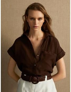 100% Linen Short Sleeve Shirt by Massimo Dutti
