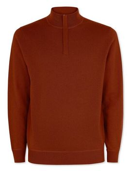 Burnt Orange Merino Cashmere Zip Neck Jumper by Charles Tyrwhitt