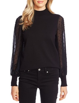 Clip Dot Sleeve Sweater by Cece