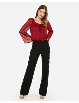Chiffon Button Front Bell Sleeve Banded Bottom Top by Express