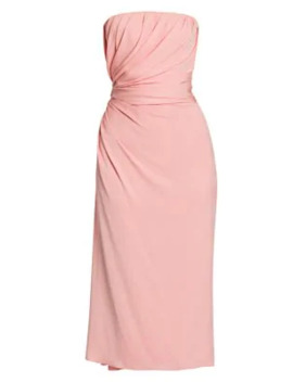 Strapless Draped Charmeuse Midi Dress by Dolce & Gabbana