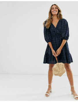 &Amp; Other Stories Gathered Dobby Cotton Mini Wrap Dress In Navy Check by & Other Stories