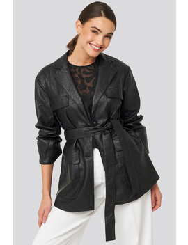 Tied Waist Pu Jacket Noir by Na Kd Trend