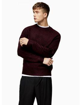 Burgundy Raglan Knitted Jumper by Topman
