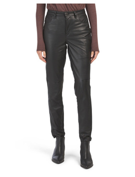 Lambskin Leather High Rise Skinny Pants by Tj Maxx