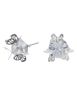 Silver Cubic Zirconia 10 Mm Round Butterfly Stud Earrings by Claire's