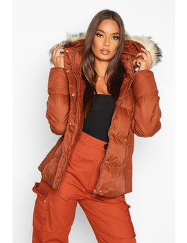 Faux Fur Trim Fitted Puffer by Boohoo