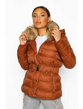 Belted Faux Fur Trim Parka by Boohoo