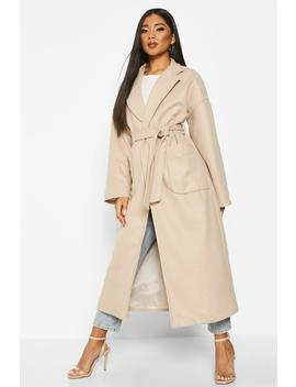 Oversized Pocket Belted Maxi Wool Look Coat by Boohoo