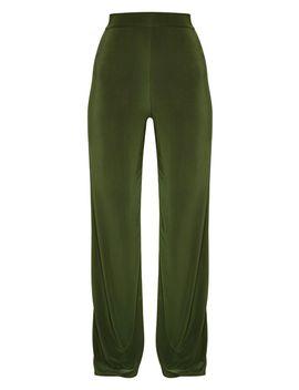 petite-green-slinky-wide-leg-pants by prettylittlething