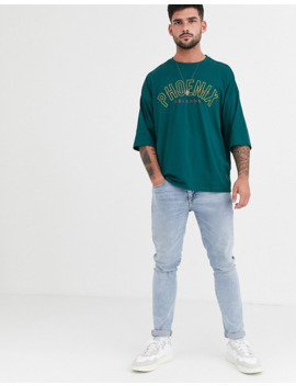 Asos Design – Besticktes Oversize T Shirt Aus Bio Baumwolle Mit Stadtmotiv Bedruckt by Asos