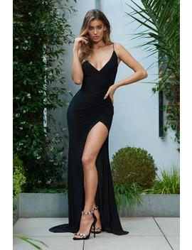 Black Wrap Front Slinky Fishtail Split Maxi Dress by Club L London