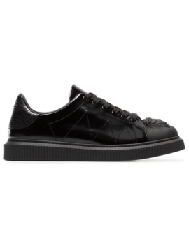 Black Medusa Patent Leather Sneakers by Versace