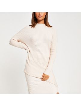 Cream Long Sleeve High Neck Asymmetric Jumper by River Island