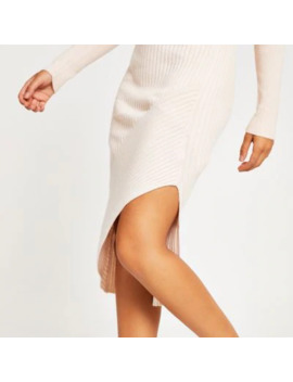 Cream Asymmetric Ribbed Knit Midi Skirt by River Island
