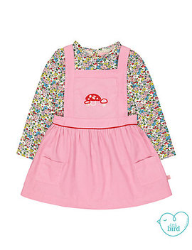 Little Bird Pink Pinny Dress And Floral T Shirt Set by Mothercare