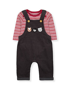 Animals Cord Dungarees And Stripe Bodysuit Set by Mothercare