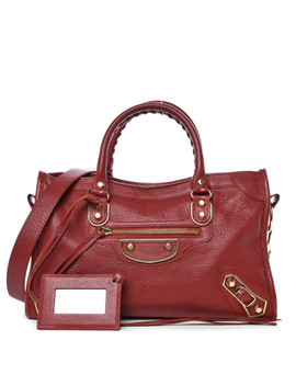 Balenciaga Chevre Gold Metallic Edge S City Bordeaux by Balenciaga