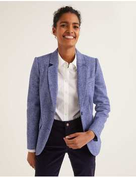 Smyth British Tweed Blazer   Bright Blue Herringbone by Boden