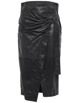 Wrap Effect Glossed Suede Pencil Skirt by Brunello Cucinelli