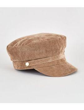Camel Corduroy Baker Boy Hat by New Look