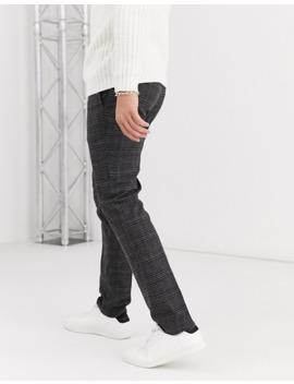 Burton Menswear Skinny Fit Trousers In Grey Check by Burton Menswear London