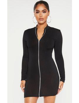 Petite Black Zip Up Long Sleeve Mini Dress  by Prettylittlething
