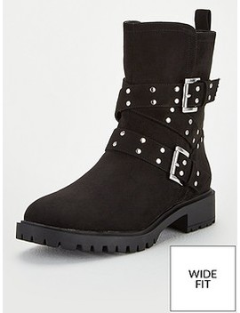 Nadia Wide Fit Biker Boots   Black by V By Very