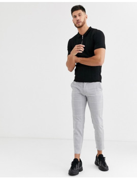 River Island Knitted Half Zip Polo In Black by River Island