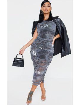 Shape Black Oriental Print Sleeveless Midi Dress by Prettylittlething