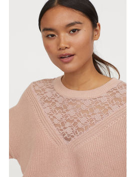 ribbed-jumper-with-lace by h&m