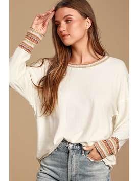 Popular Demand Cream Multi Sweater Top by Lulus