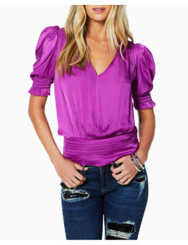 Flora Satin Puff Sleeve V Neck Top by Ramy Brook