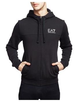 Cotton Zip Hoodie Print Black by Ea7