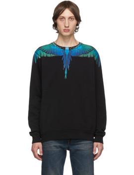 Black & Blue Wings Sweatshirt by Marcelo Burlon County Of Milan