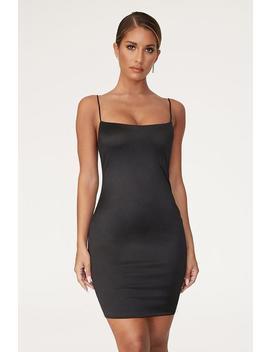 Adrena Thin Strap Mini Dress   Black by Meshki