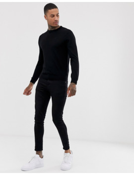 Armani Exchange Wool Mix Crew Neck Jumper In Black by Armani Exchange