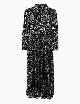 Satin Printed Waisted Midi Dress by Marks & Spencer