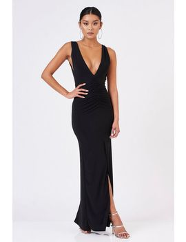 **Black Plunging Sleeve Maxi Dress By Club L by Topshop