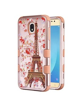 Samsung Galaxy J7 (2018), J737, J7 V 2nd Gen, J7 Refine Phone Case Tuff Hybrid Shockproof Impact Rubber Dual Layer Hard Soft Protective Hard Case Cover Textured Paris In Full Bloom Rose Gold by Xpression