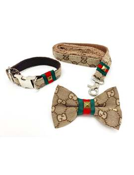 Luxury Monogram Dog Fashion Collar, Bow Tie And Leash Set by Etsy