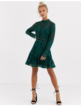 Forever New High Neck Lace Mini Dress In Teal by Forever New