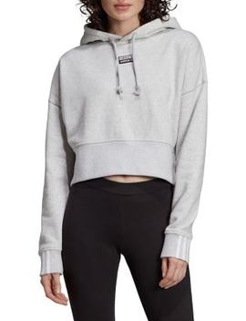 Relaxed Fit Cotton French Terry Cropped Hoodie by Adidas Originals