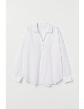 Camisa Con Lino Y Cuello De V by H&M