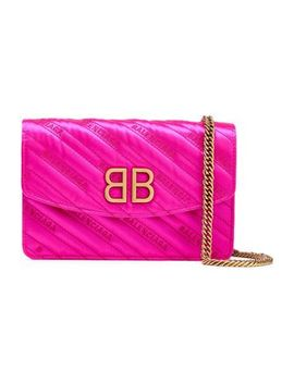 Bb Embroidered Quilted Satin Shoulder Bag by Balenciaga
