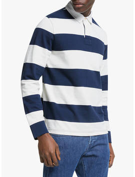 John Lewis & Partners Wide Stripe Rugby Top, Navy/White by John Lewis & Partners