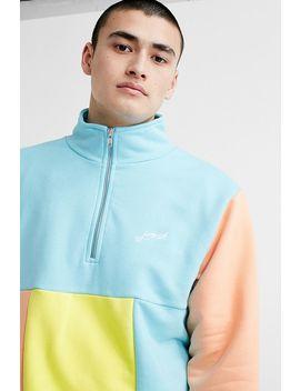 Post Details Aqua Colourblock Half Zip Sweatshirt by Post Details